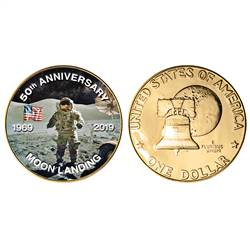 Moon Landing Eisenhower Colorized Bicentennial Dollar Gold Layered Coin