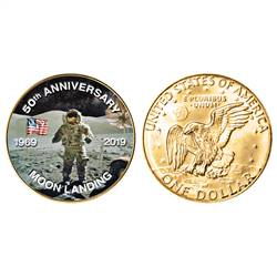 Moon Landing Eisenhower Colorized Dollar Gold Layered Coin