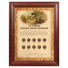 10 Years of Indian Head Pennies - Wood Frame