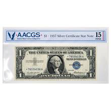 Series 1957 $1 Star Note Silver Certificate Graded Fine 15 by AACGS
