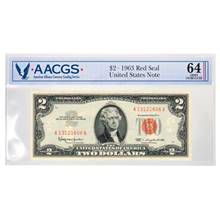 Series 1963 $2 Red Seal United States Note Graded Choice Uncirculated 64 by AACGS