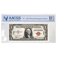 Series 1935 $1 Hawaii Emergency Note Graded Fine 15 by AACGS