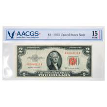 Series 1953 $2 United States Note Graded Fine 15 by AACGS