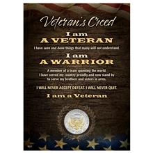 Veteran's Creed with Genuine JFK Half Dollar Matted Coin