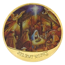 Baby Jesus Nativity 24KT Gold Colorized Medallion in box