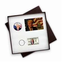 Trump Novelty Keychain, Cards and Coin Box Set