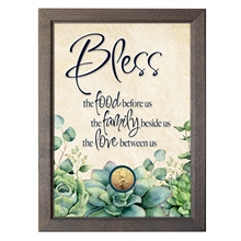 Bless Food, Family, Love With Angel Coin in 5x7 Frame