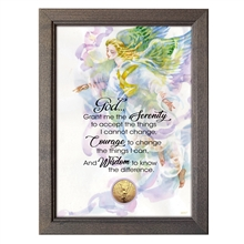 Serenity Prayer With Angel Coin in 5x7 Frame
