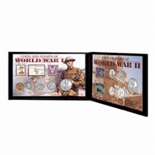 Coins and Stamps of World War I and World War II in Genuine Leather Portfolio