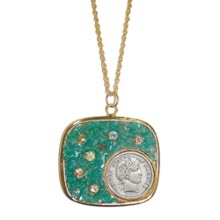 Silver Barber Dime Pendant with Amazonite Stone and Crystal