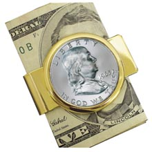 Franklin Silver Half Dollar Goldtone Moneyclip