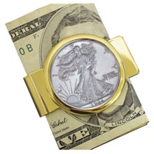 Walking Liberty Silver Half Dollar Goldtone Moneyclip