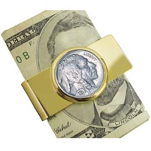 Buffalo Nickel Goldtone Moneyclip