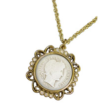 "Silver Barber Dime Goldtone Pendant with Crystals 24"" Chain"