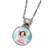 Colorized Angel JFK Half Dollar Silvertone Pendant 24'' Chain
