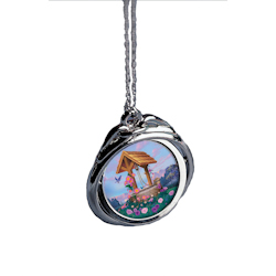 "Colorized Wishing Well JFK Half Dollar Spinner Pendant 24"" Chain"