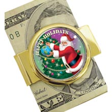 Goldtone Moneyclip with Colorized JFK Half Dollar Santa Coin