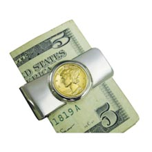 Silvertone Moneyclip with Gold-Layered Silver Mercury Dime