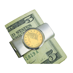 Silvertone Moneyclip with Gold -Layered 1800's Liberty Nickel