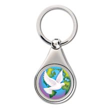 Colorized World Peace JFK Half Dollar Keychain