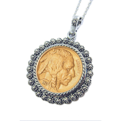 "Gold-Layered Buffalo Nickel Silvertone Blossom Pendant 24"" Chain"