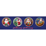 Merry Money (4 - Gold-Layered Colorized JFK Half Dollar Santa Coins)