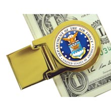 Goldtone Moneyclip with Colorized Air Force Washington Quarter