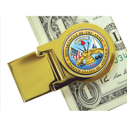 Goldtone Moneyclip with Colorized Army Washington Quarter