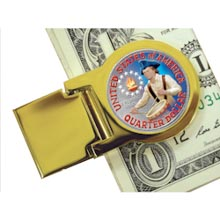 Goldtone Moneyclip with Colorized Washington Bicentennial Quarter