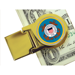 Goldtone Moneyclip with Colorized Coast Guard Washington Quarter