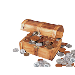 Historic Wooden Treasure Chest with at Least 50 Old U.S. Mint Coins