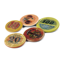 3 Authentic Monte Carlo Gaming Chips from the 1920's & 1940's