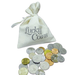 Lucky Coins in Canvas Bag