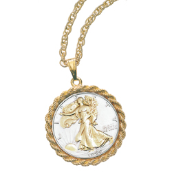 Selectively Gold-Layered Silver Walking Liberty Half Dollar Pendant