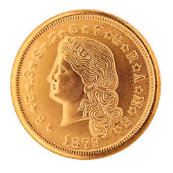 Tribute to America's Most Beautiful Coins - Flowing Hair $4 Gold Piece 1879-1880 Replica Coin