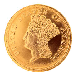 Tribute to America's Most Beautiful Coins - $3 Gold Piece 1854-1889 Replica Coin