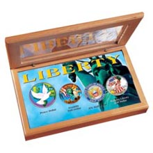 Four .900 Fine Silver Coins Resplendent in Full Color - The Liberty Collection