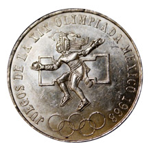 25 Peso Silver Mexican Olympic Commemorative Coin