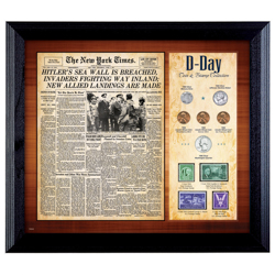 New York Times D Day Framed Coin and Stamp Collection
