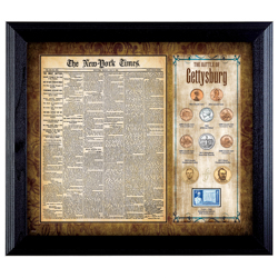 New York Times Battle of Gettysburg Framed Coin and Stamp Collection