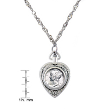 Year To Remember Coin Heart Watch Pendant