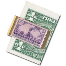 Brass Train Stamp Money Clip