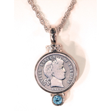 Silver Barber Dime Pendant with Aqua Crystal