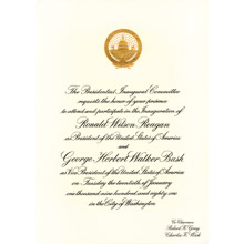 Official Ronald Reagan First Presidential Inauguration Invitation