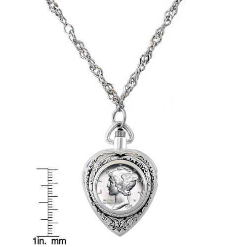 Silver mercury dime heart pendant watch aloadofball Gallery