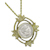 Goldtone Open Oval Leaf Silver Barber Dime Coin Pendant Coin Jewelry