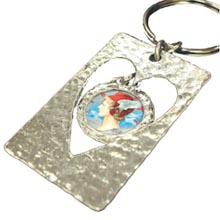 Cut Out Heart Colorized Silver Mercury Dime Keychain