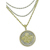 Selectively Gold-Layered Lucky Sixpence Goldtone Coin Pendant with Triple Chain Coin Jewelry