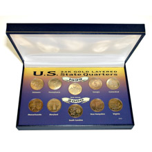 1999 and 2000 24kt Gold-Layered Statehood Quarter Collection