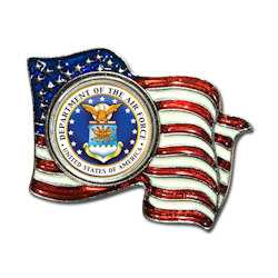 Armed Forces Colorized Quarter Flag Pin - Air Force